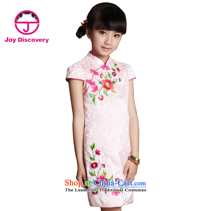 The Burkina found China wind characteristics of children's wear under the 2015 Summer new girls Tang dynasty embroidery cheongsam dress S3141398 pink160 code