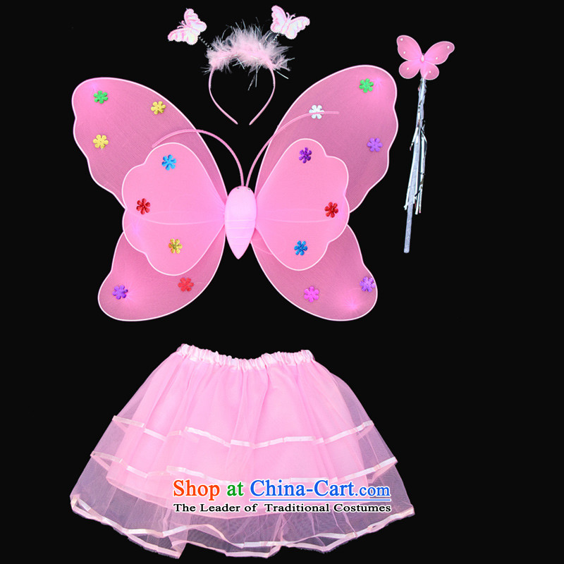 Dream arts children's clothing Halloween costumes children in children's dance girls will double butterfly wings clothing dress Four piece set Pink