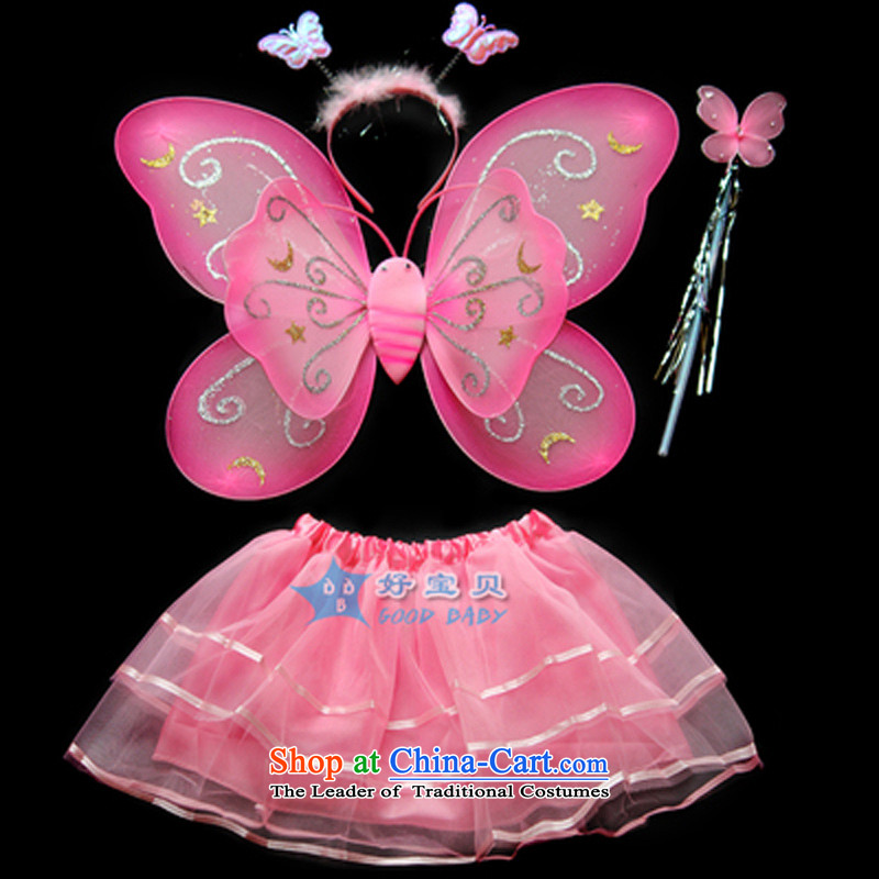 Children Halloween costumes dance services angel girl butterfly wings 4 piece girls of early childhood services show Pink