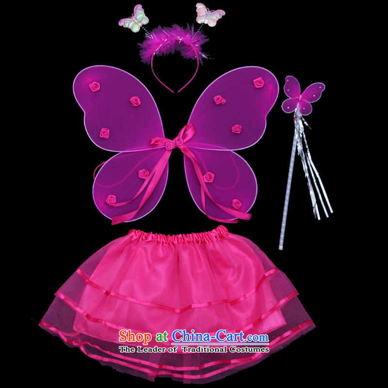 Halloween costumes Angel Children butterfly wings 4 piece set no gold powder Angel's Wings of props red