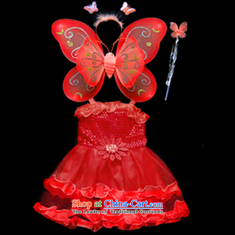 Children's Clothing Halloween costumes children dance skirt butterfly wings 4 piece of red 110-120XL stage props
