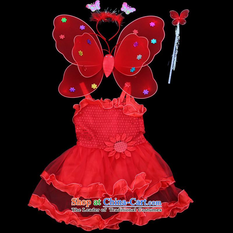 Children's Clothing On-chip Halloween double wings dresses Four piece set section 61 children's entertainment props activities of red 110-120XL Supplies