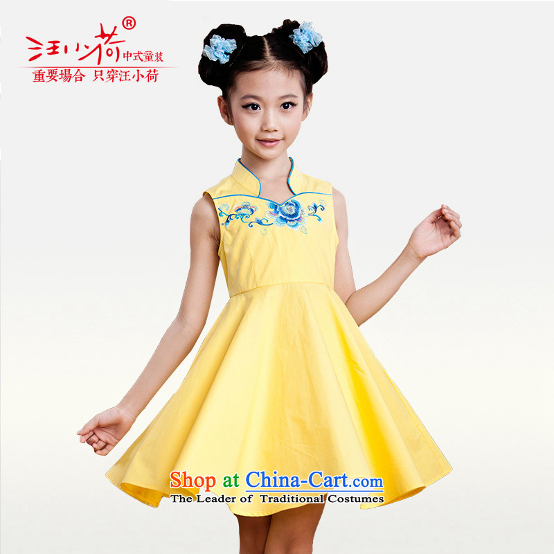 I should be grateful if you would have little girls Wang summer show services qipao H4219E yellow?150_146-155cm_ t-shirt