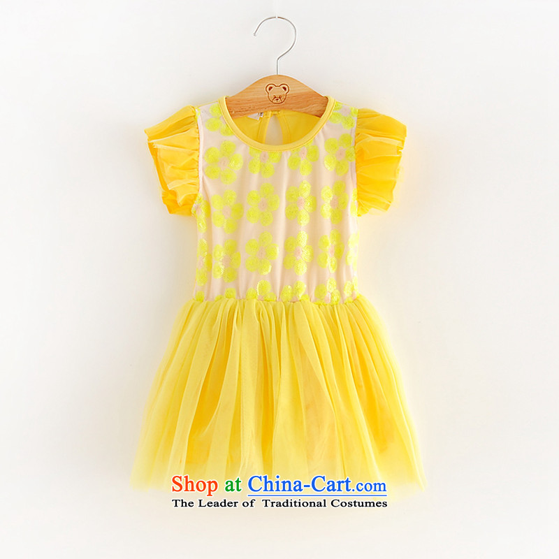 Hivsummer fruit agolier Reap 2-7-year-old girl Korean skirt on the princess lovely bon bon skirt girls chip baby dressesA028 yellow90 code recommendations following 90cm