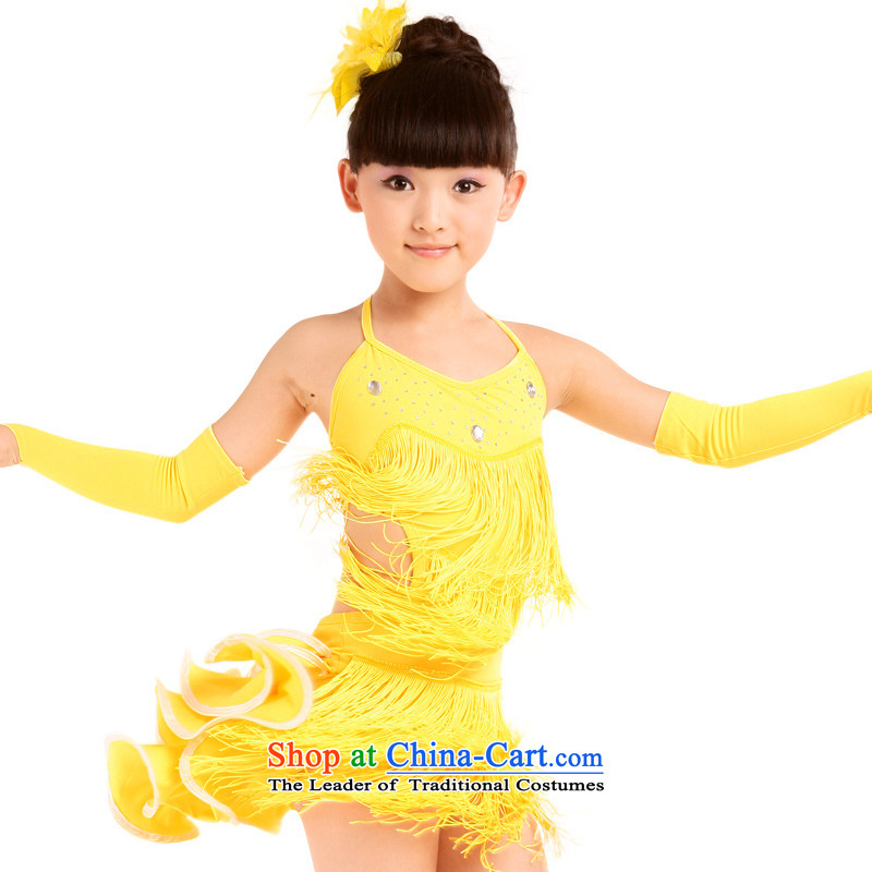 Dream arts children Latin dance clothing child care Latin dance wearing the new children's Latin dance skirt edging girls children Latin dance skirt MZY-0149 WONG 160 small a code. It is recommended that the concept of a large number