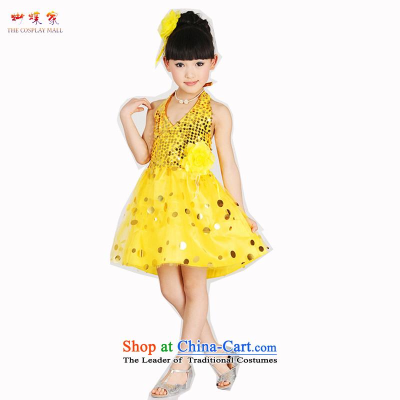 Butterfly house Latin dance wearing girls 2015 New Modern Dance Dance evening celebrate Children's Day children will dress yellow160