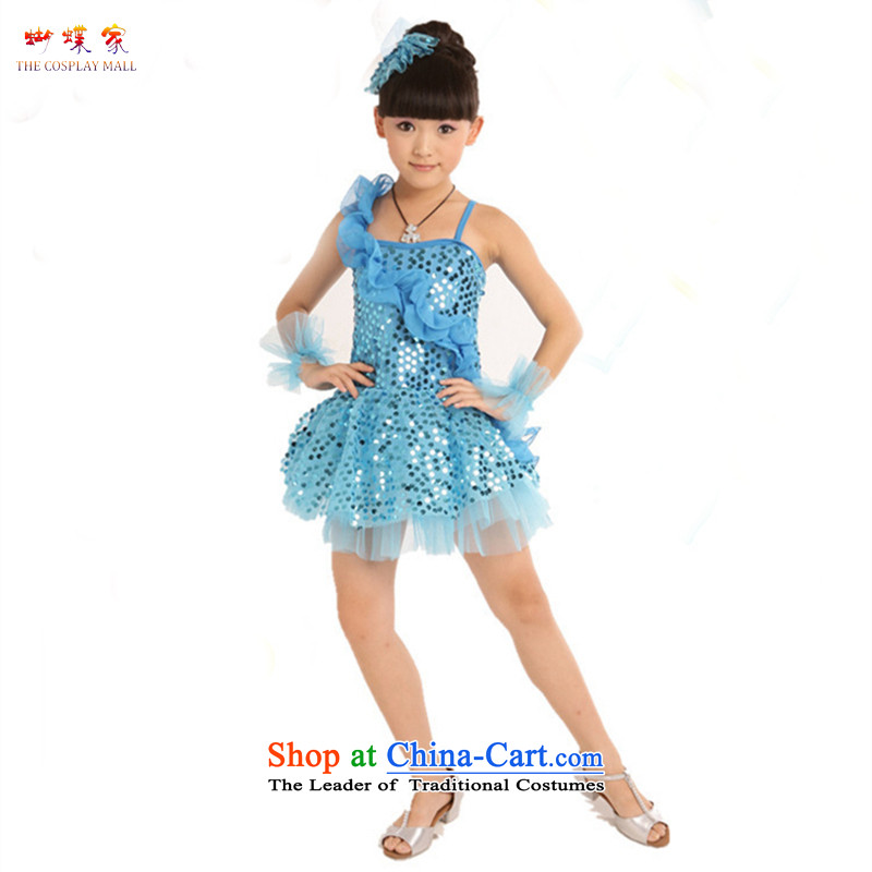 Butterfly house Latin Dancing girl children wearing will show services Stage Costume modern dance on chip dress skirt Blue160
