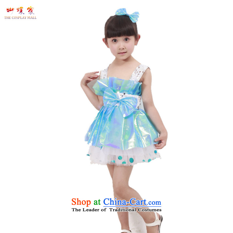 Butterfly house girls will spring 2015 new child costumes girls spend lead apron kindergarten dance Butterfly Dance Services Blue 130 61