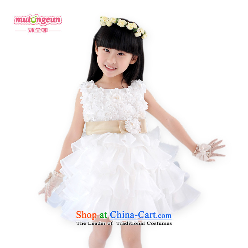 Bathing in the staff of the estate children dress princess skirt girls Korean Flower Girls dress Wedding, Birthday Services white shirt skirt Snow White Dress 050聽5.30 m White
