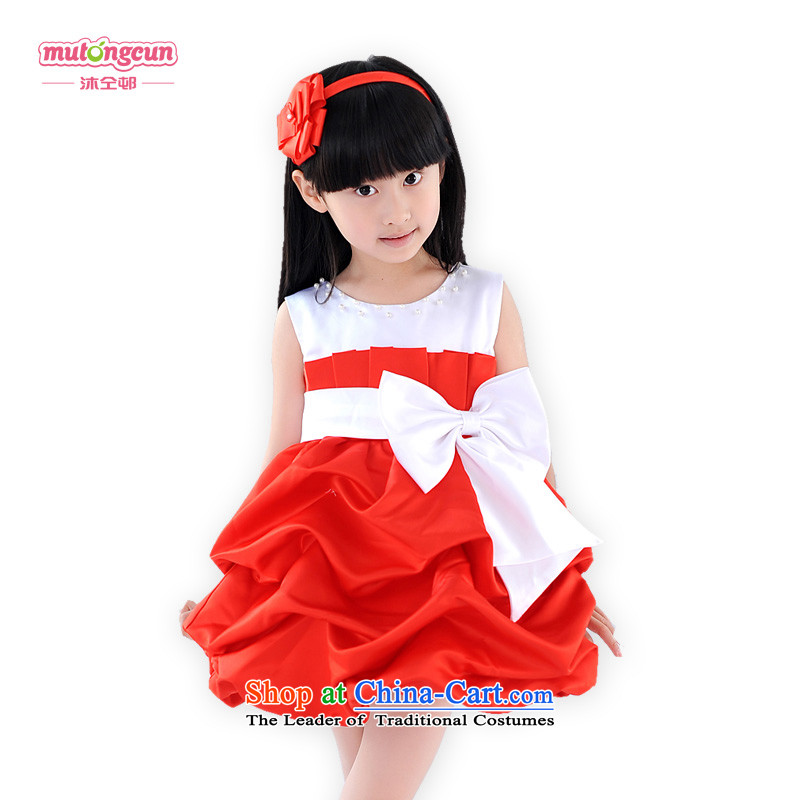 Bathing in the staff of the estate children princess skirt wedding dresses Flower Girls bon bon skirt girls dress skirt snow white dress will dress 070 Chinese Red 5.30