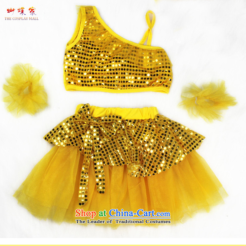 Butterfly house small and medium-sized child stage performances children costumes Latin modern split off-chip dress dances skirt services yellow 160