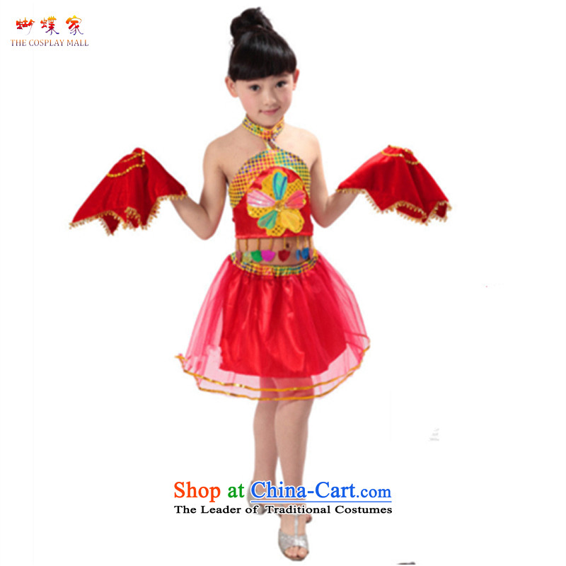 Butterfly house of children's wear skirts children dance folk dance performances to girls handkerchief dance wearing early childhood girls stage costumes Red 130