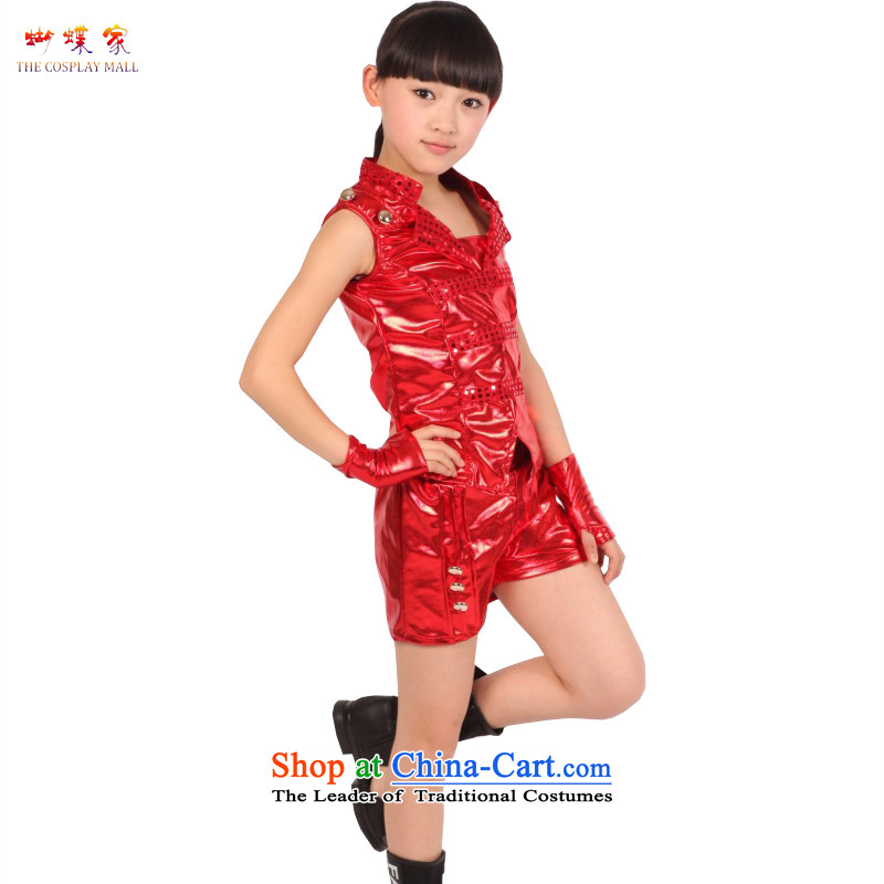 Butterfly house of children's wear girls performed services 2015 new early childhood street jazz dance costumes dance modern dance show services children girls stage Services Red聽150