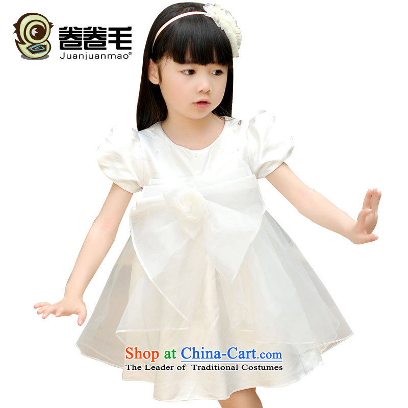The gross volume of the new children's noble dresses girls chiffon dress princess skirt?T489?White?120