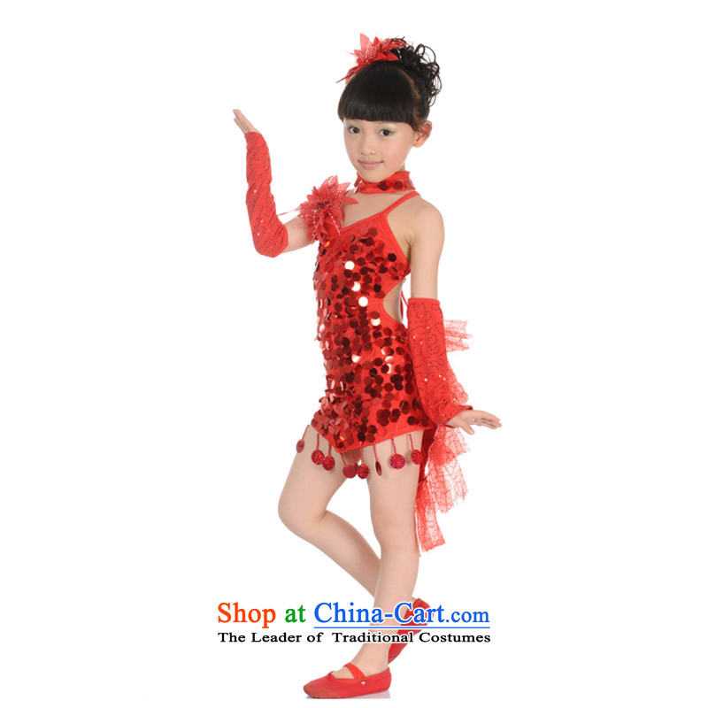 Adjustable leather case package children Latin dance performances to red dress聽150cm