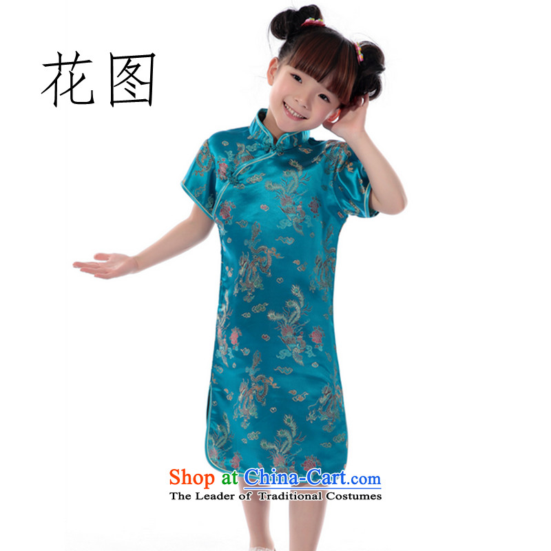 It new summer 2014 Tang dynasty girl children loaded collar brocade coverlets short-sleeved clothing to the dragon small qipao performances, Blue 16