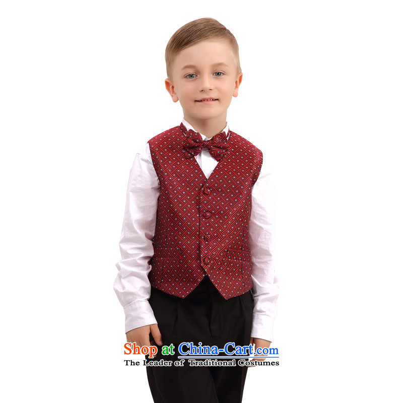 In accordance with the Korean version of land picking children sets autumn, a new package boy children's wear suits performances take dress uniform deep red 140