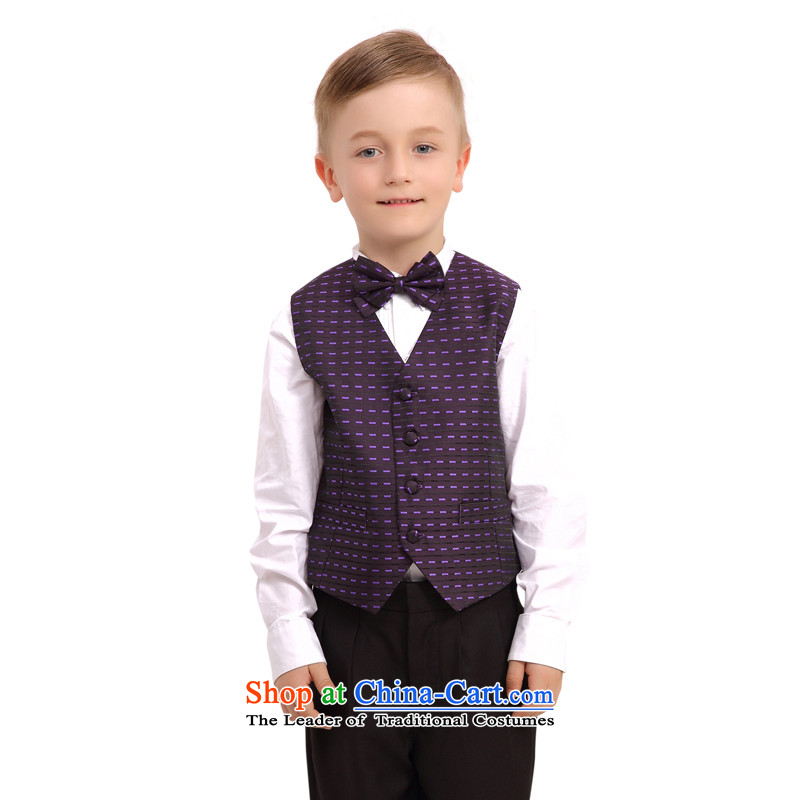 In accordance with the child dresses land picking male kit boy summer wedding dresses Flower Girls moderator clothing is NS3006 vest purple聽160