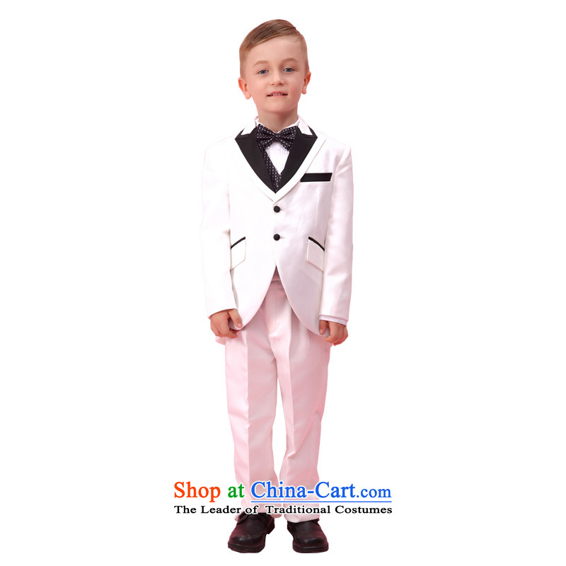 In accordance with the boy land picking dovetail dress kit children dress suit boy Kit Flower Girls dress elegant autumn and winter children small business suit ST5302 White?140