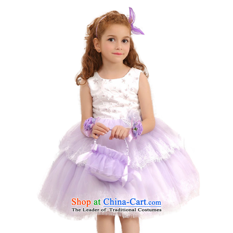 In accordance with the 2015 university land picking girls dresses princess skirt bon bon summer, hundreds of children's wear under the Korean version of the pleated skirts gauze dresses W301409 Purple
