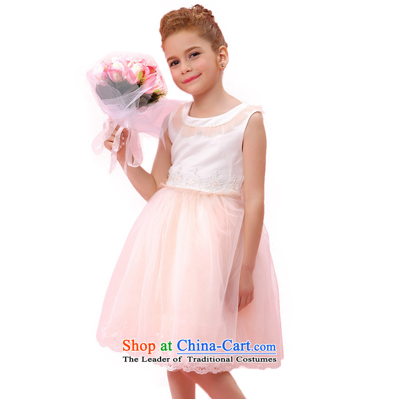 According to the children's wear land picking girls white dresses flower embroidery princess skirt child spring children bon bon skirt costumes G30915 Orange 140
