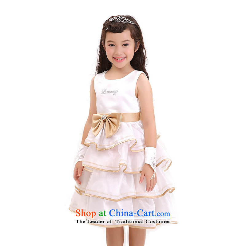 According to the new land picking Girls High Little Princess skirt will take children's wear dresses court children bon bon skirt in long?W301419?White?150