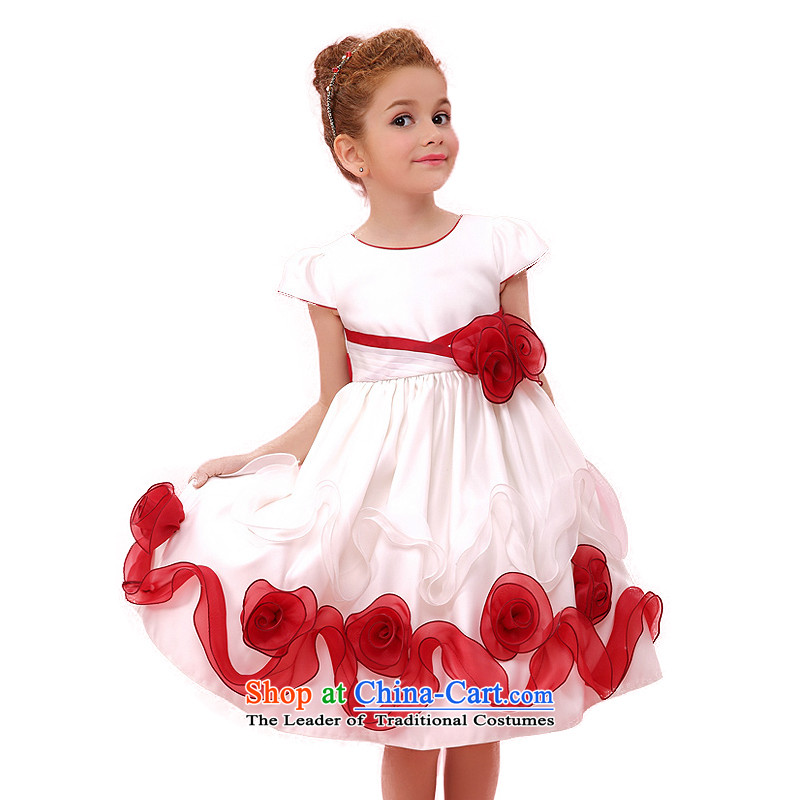 In accordance with the2015 Land picking summer new girls skirts of children and of children's wear dresses skirts Korean Princess Princess dress Red Concert + White120