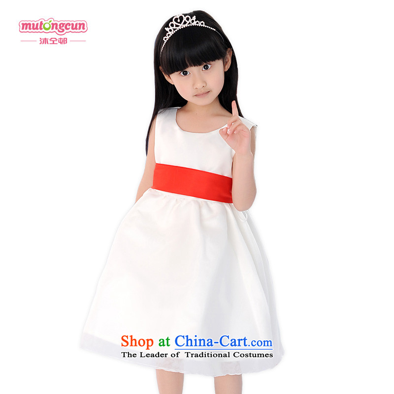 Bathing in the estate children will house the children's wear dresses girls princess skirt children dress wedding dress white vest 074 5.30 m White