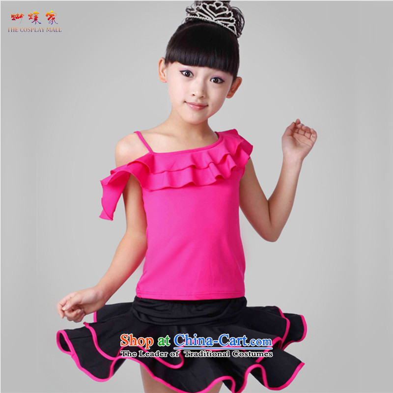 Butterfly house Shao Er Latin dance wearing female children dance performances by the solid color services serving evening COTTON SHORT SLEEVE dance performances two kits of skirt red 160 (150cm tall) Recommendation