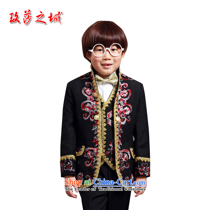 Classic Children & Exp vest embroidery style wedding flower Girls Boys clothing student LED shows the black clothes can embroider tailored 6234 BlackSpot 150