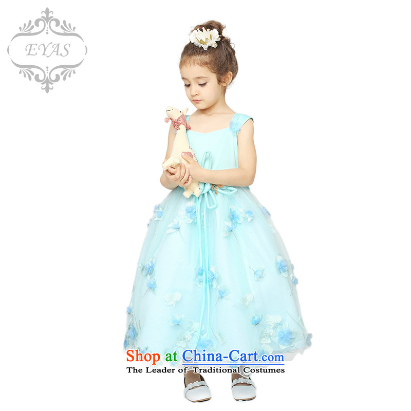 New Spring EYAS2015 flower girl children dress skirt girls princess skirt girls dress evening dress long skirt bon bon apron skirt will female Blue 150