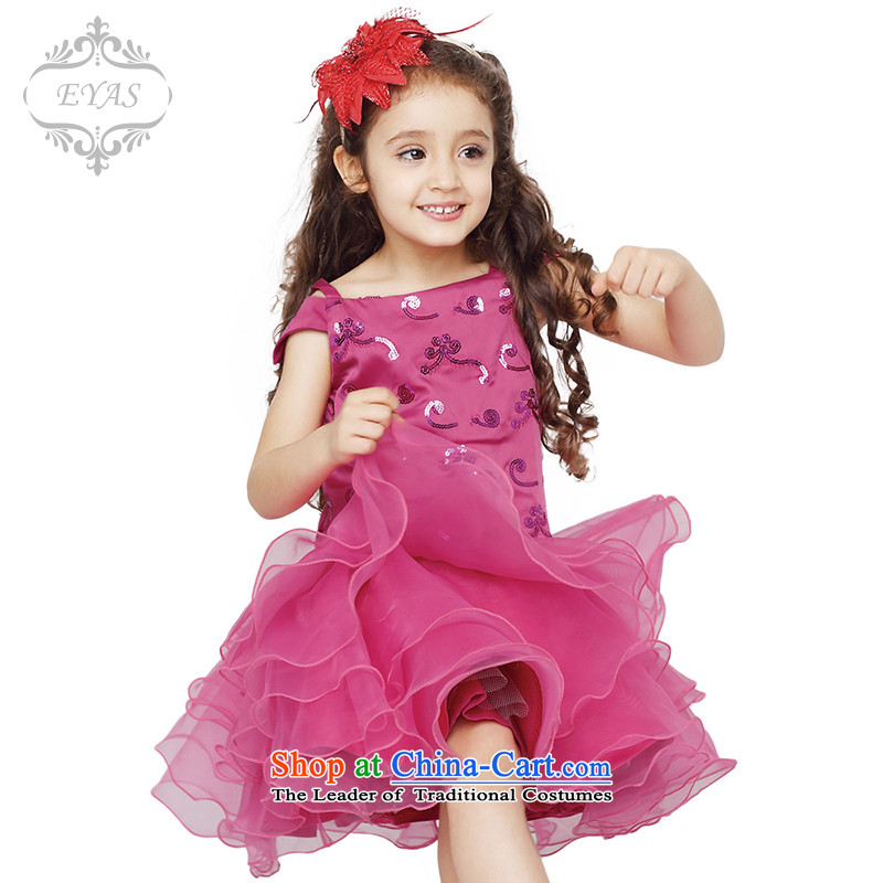 Eyas of the new girls spring dress princess skirt the skirt will children dance performances to dress skirt bon bon skirt female D4203 rose 140