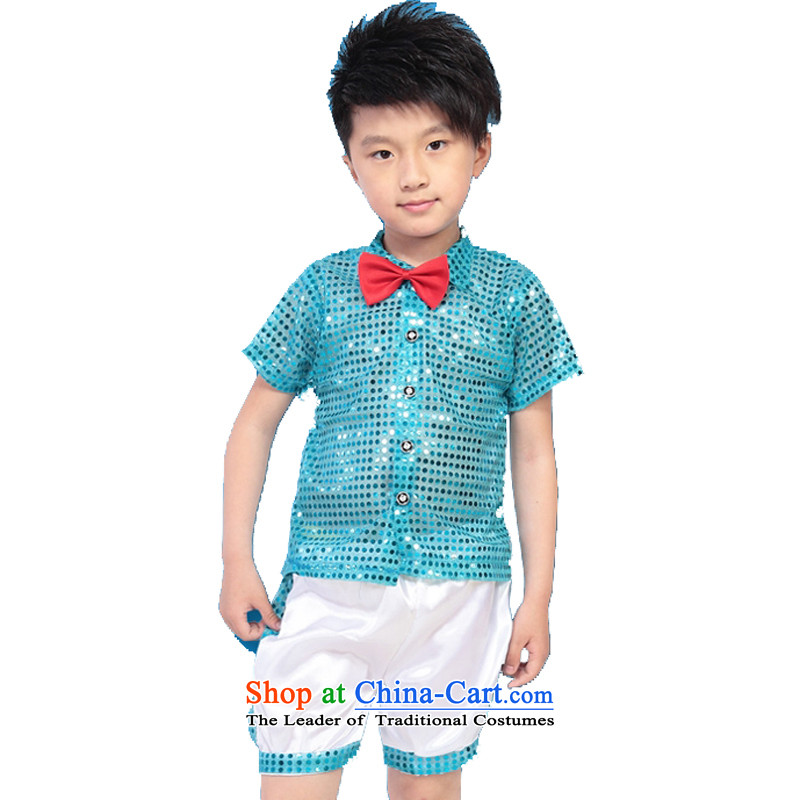 Adjustable leather case package children costumes dance clothing will early childhood on chip sets a small blue (Code) 150cm