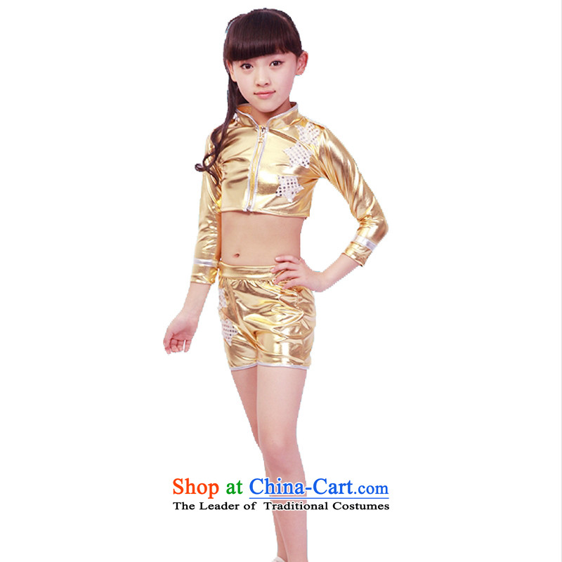 Adjustable leather case package children costumes children on chip jazz dance performances to Champagne Gold聽140cm