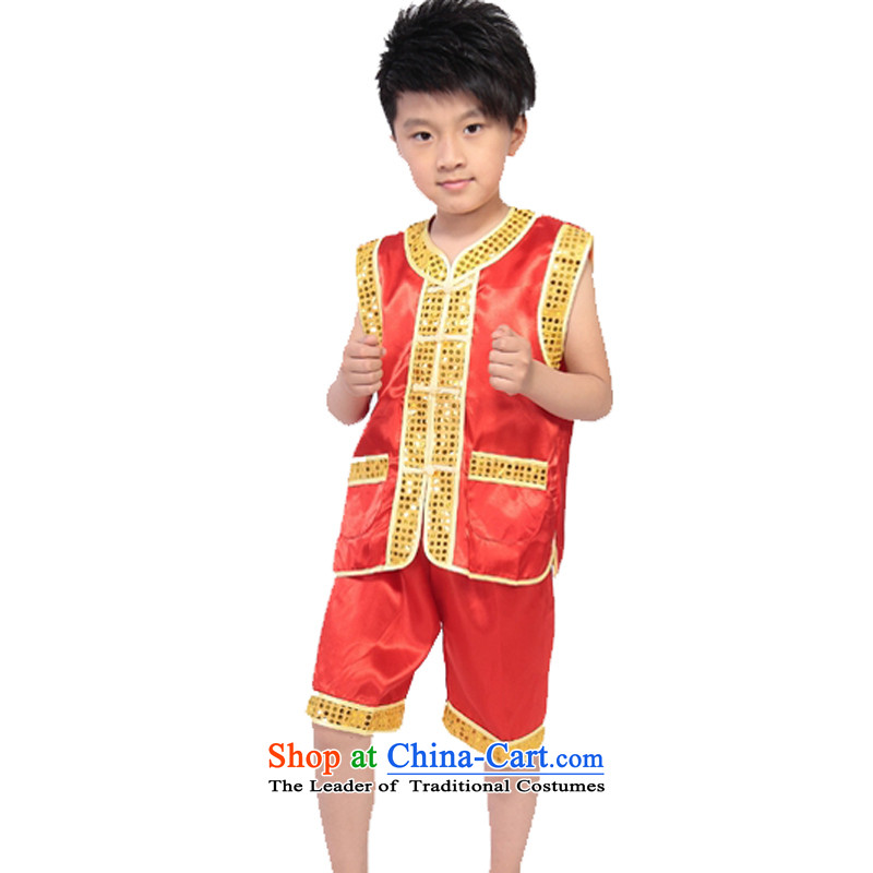 Adjustable leather case package children will boy martial arts performance services red?140cm