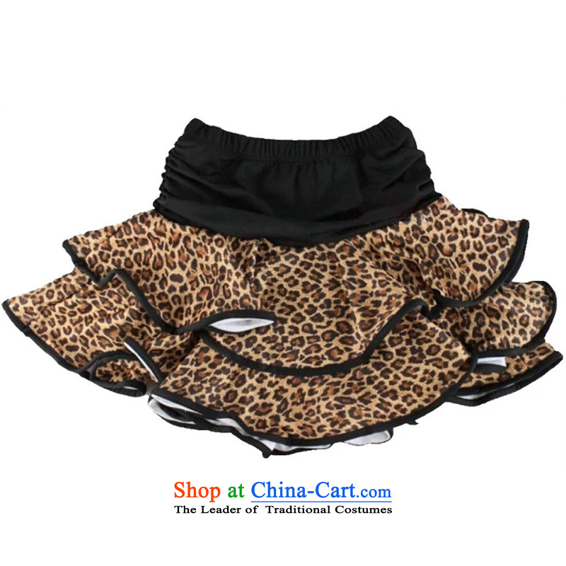 Adjustable leather case package child maids Latin dance skirt Shao Er Latin skirt practitioners skirt leopard parquet Black聽XL