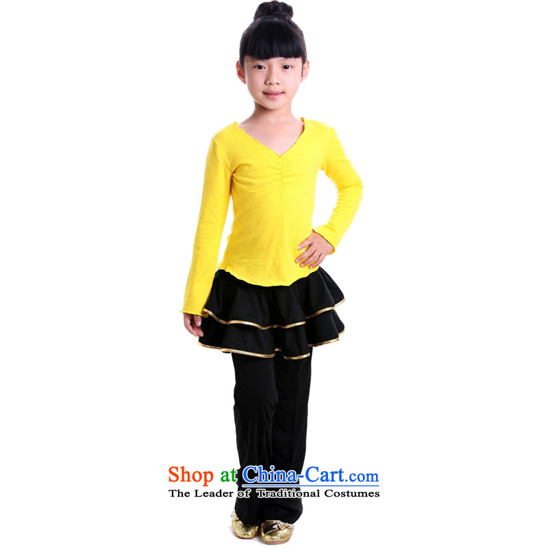 Adjustable leather case package Latin serving children kit for children exercise clothing Yellow + 9078 8158 Yi Phnom Penh height 160 (Yi 170 pants trousers95)