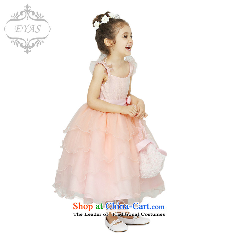 Eyas of spring and summer new children's wear wedding dresses children birthday Snow White Dress girls Flower Girls dress bon bon skirt show services female C4217 orange pink 150