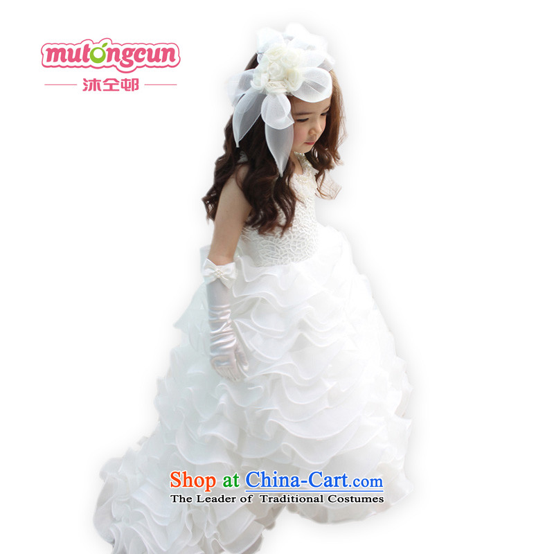 Bathing in the estate of the colleagues of the Child wedding dresses upscale princess skirt girls wedding flower girls long tail skirt crowsfoot skirt show birthday party chairmanship will stage ivory150cm