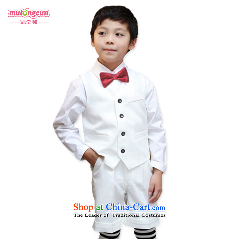 Bathing in the estate boy upscale distinguished short-sleeved gown of children's wear suits shorts to spend the summer gown birthday children dress MJ02 long-sleeved shirt聽150cm