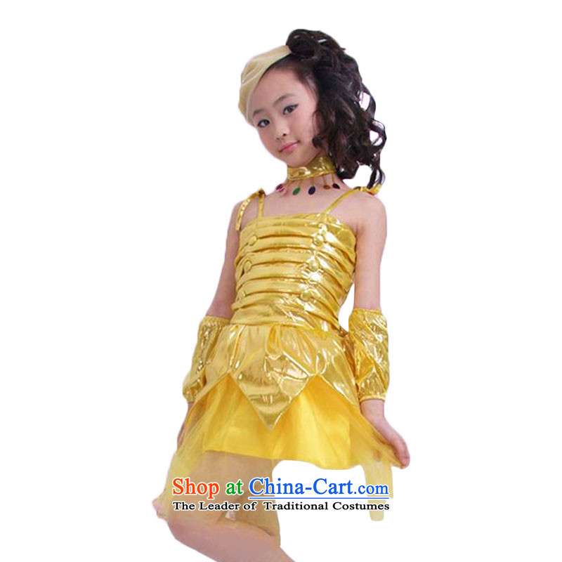 Early childhood dance performances costumes children serving girls dress Shao Er Lotus skirt dress princess?TZ5108-0100?yellow?(l)110cm skirt