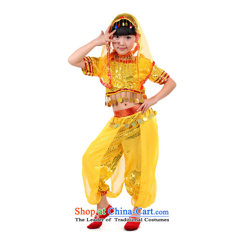 Indian dance performances services for children with clothing folk dance performances to girls Belly Dance Dance services聽TZ5108-0094 Services Xinjiang聽聽120cm_l_ yellow