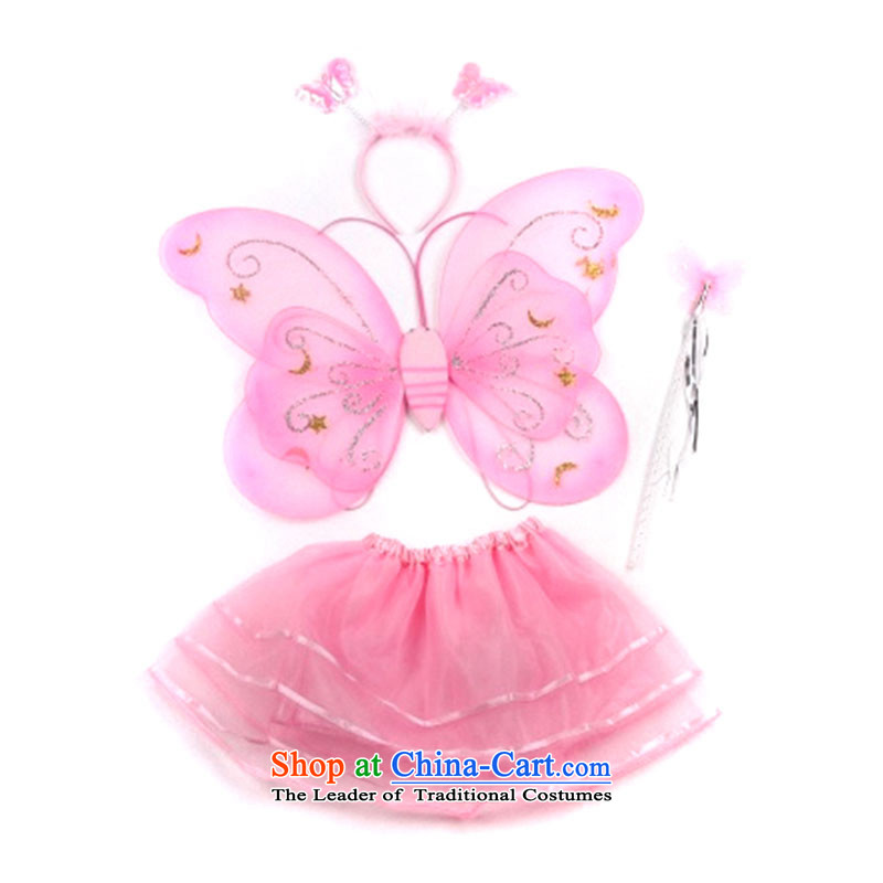 Children's stage costumes dance performances skirt princess butterfly wings of the establishment of a fourth piece?TZ5108-0086?pink 4 piece suites are on the WINGS _CHIP_ code _90-130 suitable for left and right height