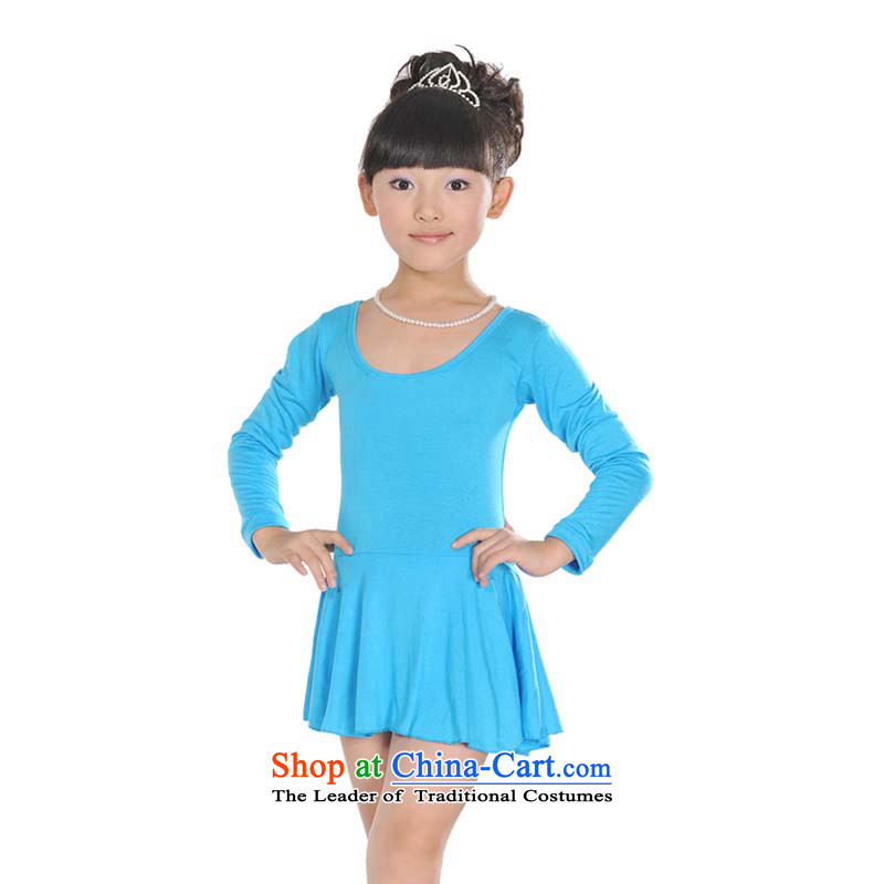 Girls wearing long-sleeved skirt Ballet Dance Performances Latin TZ5108-0071 skirt a long-sleeved blue (bow tie), 110 (Recommended 90-110) document