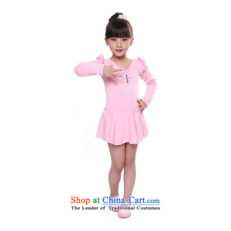 Latin dance skirt the girl children dance exercise clothing autumn and winter clothing dance Latin dance long-sleeved clothing TZ5108-0064 pink _warm clothing stingrays lint-free plus lint-free thick_ 150cm