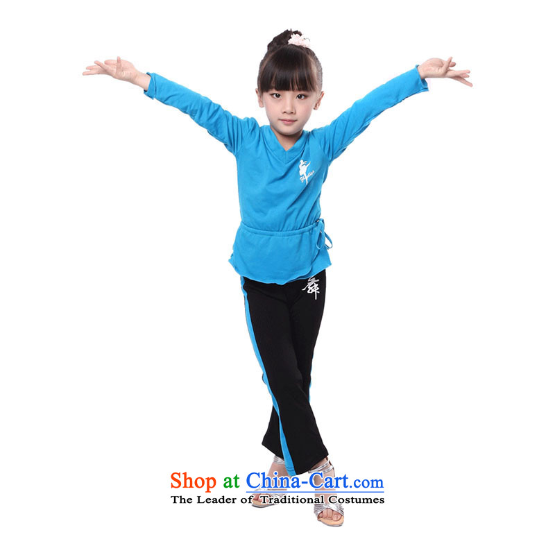 Children Dance wearing girls exercise clothing autumn and winter rarely early childhood Latin dance exercise clothing TZ5108-0063 Blue 130cm