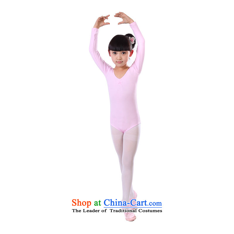 The girl child gymnastics service exercise clothing ballet services-card cotton TZ5108-0062 pink 140cm
