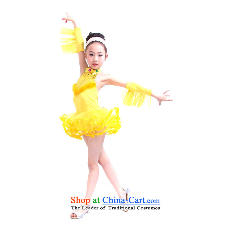 Dance services bon bon skirt dancing girl child dresses skirt costumes on chip dress dancesTZ5108-0044YELLOWL 90-115CM) fit