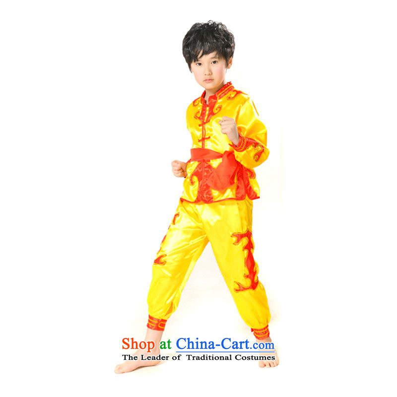 Children will exercise clothing boy martial arts performance services for children's dance clothing child care services聽TZ5108-0017 Taiji Kongfu聽yellow _exercise clothing_ 5.30