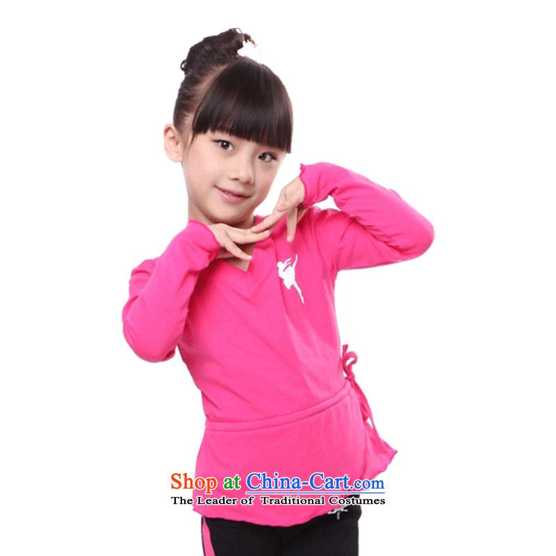 Children Dance exercise clothing autumn and winter clothing girls long-sleeved Latin Dance Dance?TZ5108-0013 Kit??110cm, red t-shirt.